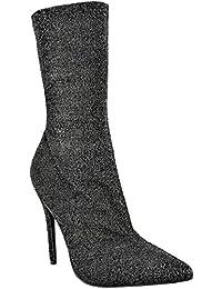 donna stivali caviglia donna stretch lycra stiletto tacchi alti a Punta  SCARPE 440ab38757b