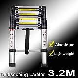 Échelle télescopique multifonction en aluminium de 3,2 m pour loft maison, capacité de charge maximale 150 kg pour une utilisation en extérieur et en intérieur 11 marches Poids 9,2 kg
