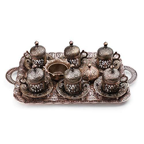 Nosy Nomad Kaffeeset: 6 Tassen türkisches Kaffeetassen-Set, Bonbon-Teller, original Kupferguss | Türkische kupferkaffeetasse mit ottomanischen tassen | Satz von 6