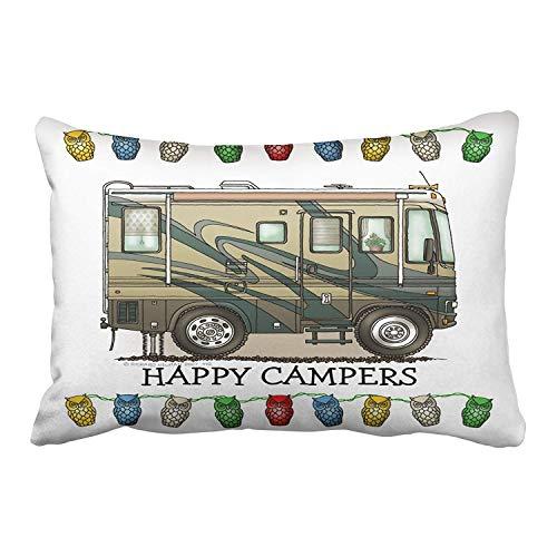 RGFJJE Kissenbezüge Design Pillow Cover Case Multicolor Queen Size Cute Happy Camper Big Rv Coach Motor Gift 18