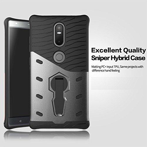 Tarkan ® Lenovo Phab 2 Plus 6.4 inch Back Case Cover 360 Bumper Kickstand Original Sniper [Grey]