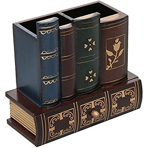 Fuente de MS Office–Biblioteca diseño de libros madera Caddy Organizador de–Portalápices, con cajón inferior cj491