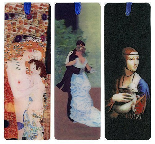 3 - 3D Lenticular Bookmarks - Famous Artists - Monet - Dance in the City, Klimt - Mother and Child, Da Vinci - Lady with Ermine, Beautiful Reality by 3Dstereo Bookmarks (Collection Authentic Womens)