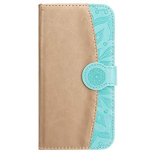 MoreChioce MoreChioce kompatibel mit iPhone SE Hülle,kompatibel mit iPhone 5s Hülle Leder Flip Case, Premium Gold + Grün Handytasche Stand Klapphülle Protective Brieftasche Magnetische mit Kartenfach,EINWEG