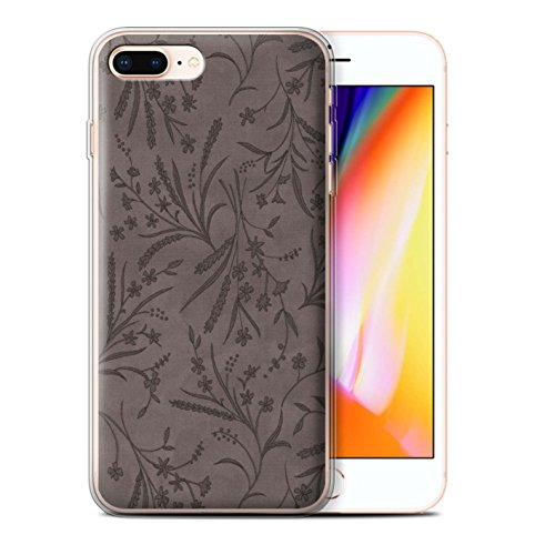 Stuff4 Gel TPU Hülle / Case für Apple iPhone 8 Plus / Rosa/Orange Muster / Weizen Blümchenmuster Kollektion Grau