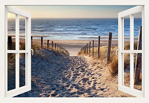 Preisvergleich Produktbild Artland Qualitätsbilder I Wandtattoo Wandsticker Wandaufkleber 70 x 50 cm Landschaften Strand Foto Creme C3JO Weg Nordseestrand Sonnenuntergang