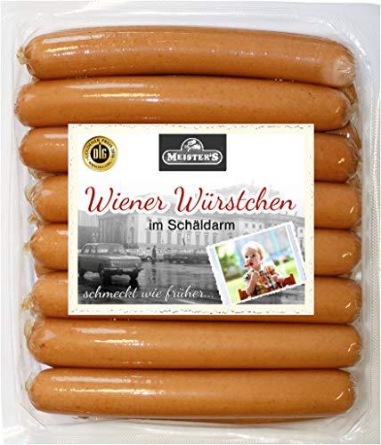 Wiener Würstchen im Schäldarm | perfekte Hot Dog Wurst geräuchert | Würstel in Premium-Qualität aus Bautzen | 16 x 50g