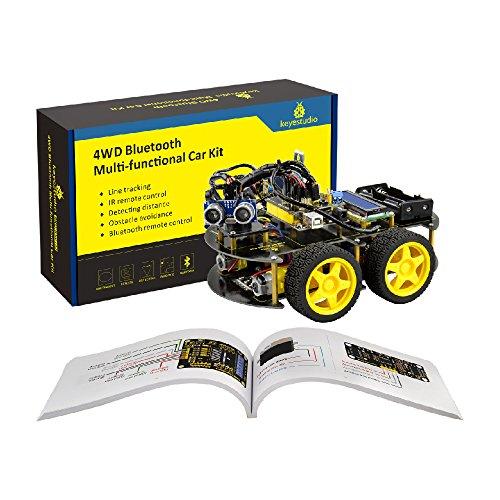 KEYESTUDIO R3 Starter Kit macchinina Robot Multi-Funzionale Intelligente con sensore di Linea, sensore a ultrasuoni, modulo Bluetooth sensore a ultrasuoni Progetto for Arduino Uno