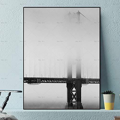 NIMCG City Landscape Stampa su Tela Poster e Stampe su Arte Moderna Bridge Seascape Pittura Immagini murali per Soggiorno Si (Senza Cornice) R1 20x30CM
