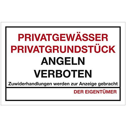 Wandkings Hinweisaufkleber für den Innen- und Außenbereich - Privatgewässer Privatgrundstück Angeln verboten! - 40x30 cm - Aufkleber ohne Schild