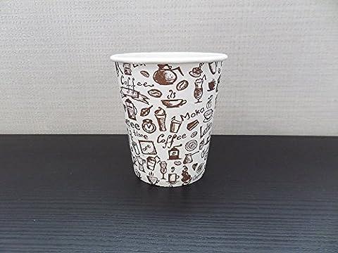 100 x 7oz Gobelet en carton - Mélange Motif café