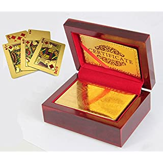 Ahaccw(TM) 24k Gold Playing Cards with Wooden Box