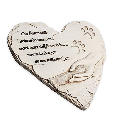 Piedra conmemorativa de perro, con forma de corazón impresa a mano, personalizable, con poema y diseño de una pata y una mano, significativos peldaños conmemorativos del perroJHB