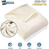 HYSEAS Manta suave de microfibra, 180 x 220 cm, Marfil, cálida con tacto de terciopelo para sofá o cama, anti-arrugas y transpirable(Disponible en varios colores y tamaños)