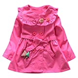Outtop(TM) Baby-Girls' Outerwear Jacket Ruched Sweet Windbreaker Coat Clothes 3T(2~3years) Hot Pink