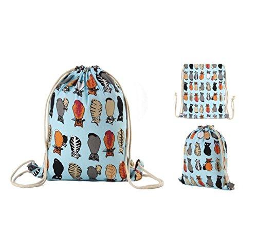 Imagen de  de cuerdas, bolasa con cordón 34 x 41cm saco gym hipster backpack pórtatil plegable para deportes al aire libre gimnasio ciclismo senderismo escuela, gato azul alternativa