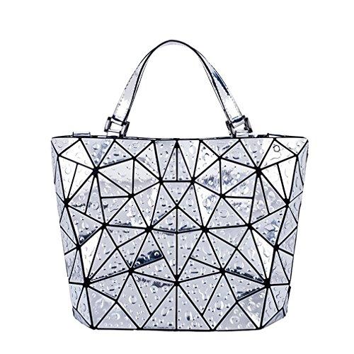 Frauen-Diamant-Taschen-Geometrie Gesteppte Schultertasche-Laser-Faltende Handtaschen Silver (Diamant-gesteppte Handtasche)