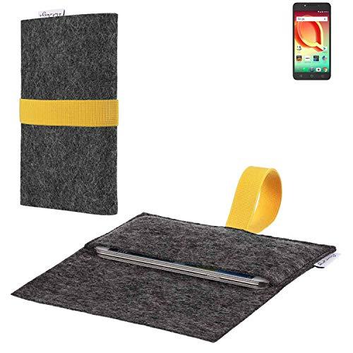 flat.design vegane Handy Hülle Aveiro für Alcatel A50 passgenaue Filz Tasche Case Sleeve Made in Germany