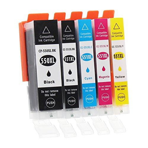 Canon Ersatz-farbe-tinte (5 Druckerpatronen mit Chip und Füllstandsanzeige kompatibel zu Canon PGI-550 / CLI-551 (1x Schwarz breit, 1x Schwarz schmal, 1x Cyan, 1x Magenta, 1x Gelb) passend für Canon Pixma IP-7200 IP-7250 IP-8700 IP-8750 IX-6800 IX-6850 MG-5400 MG-5450 MG-5550 MG-5600 MG-5650 MG-5655 MG-6300 MG-6350 MG-6400 MG-6450 MG-6600 MG-6650 MG-7100 MG-7150 MG-7500 MG-7550 MX-720 MX-725 MX-920 MX-925)