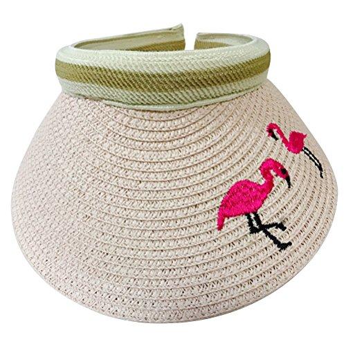 BESTOYARD Kinder Sonnenvisor Sonnenhut Einstellbare Sonnenschutz Strohhut Flamingo Muster für Unisex Kinder (Rosa)