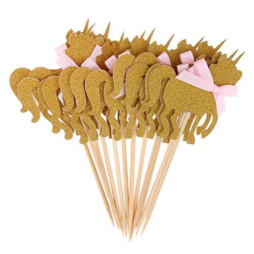 MagiDeal 10x Brillo Unicornio Cupcake Topper Bowknot Accesorios de Navidad Fiesta de Cumpleaños