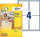 Avery 100 Etiquettes Autocollantes Amovibles (4 par Feuille) - 99,1x139mm - Impression Laser, Jet d'encre - Blanc (L4733REV)