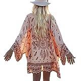 Kanpola Strandkleid Damen Strickjacken Hot Sale Sommer Knielang Blumenmuster Kimono Blusen Beach Bademode Bikini Cover up Strandkleidung