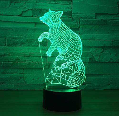 3D Illusion Lampe Led Nachtlicht Fox 7 Farbe Licht 3D Visuelle Tier Führen Nachtlicht Kinder Fernbedienung Usb Batteriemessgerät Lanbao Baby Schlaf Nightligh, Stil A