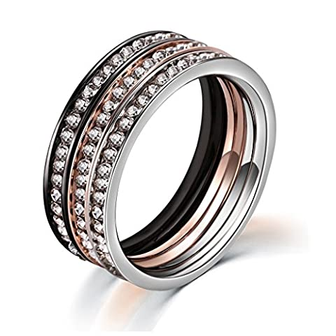Aienid Channel Set Promise Ring for Girl Stacking Ring Set Women Silver Eternity Band White CZ Size I