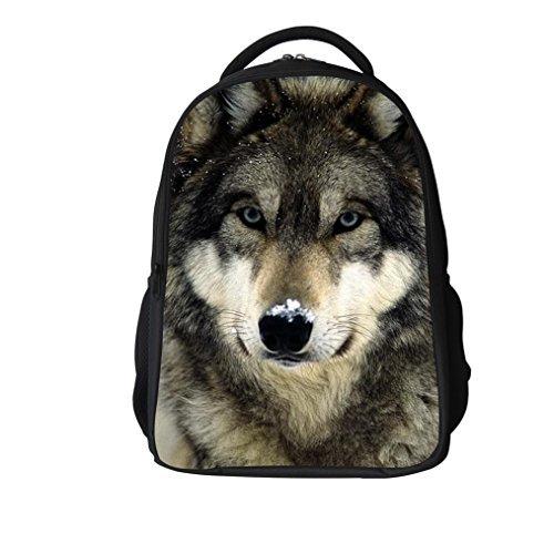 3D Wolf Schulrucksack für Kinder Animal Print Design Schultasche Laptop Computer Rucksäcke