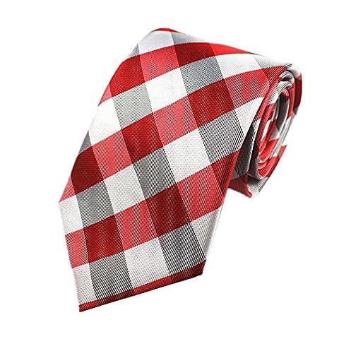 Z-P Mens Red Grey Lattice Luxury Elegant Necktie Knit Woven Jacquard Skinny Tie