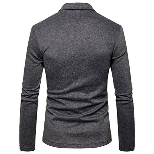 ZhiYuanAN Uomo Blazer Tinta Unita Cappotto Elegante Slim Fit One Button Lavoro Affari Giacca Tailleur Giubbotti Grigio scuro
