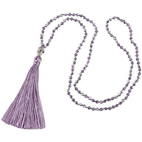 Zoll-glas-perlen 2 (KELITCH Bohemian Kristall Perlen Damen-Halskette Lange Kette Buddha Kopf Seide Quaste - Lila A)