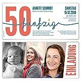 80 x Einladungskarten runder Geburtstag 50 Jahre Geburtstagseinladungen - Foto Zeitstrahl
