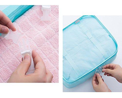 Belsmi Reise Kleidertaschen Set 8-teilig Reisetasche in Koffer Reisegepäck Organizer Kompression Taschen Kofferorganizer Mit Schuhbeutel (Rosa Streifen) Grau