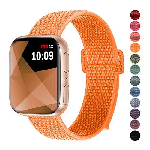 Naomo Compatibile con Watch Cinturino 42mm/44mm, Morbido Nylon Cinturini di Ricambio Sostituzione per Watch Series 4/Series 3/ Series 2/ Series 1 (42mm/44mm, Arancione Papaya)
