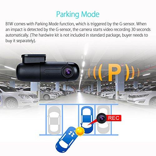 Blueskysea B1W WiFi Mini Cámara del coche Dashcam Grabador de video del vehículo 360 grados Lente giratoria 1080p 30fps G-Sensor Grabación en bucle