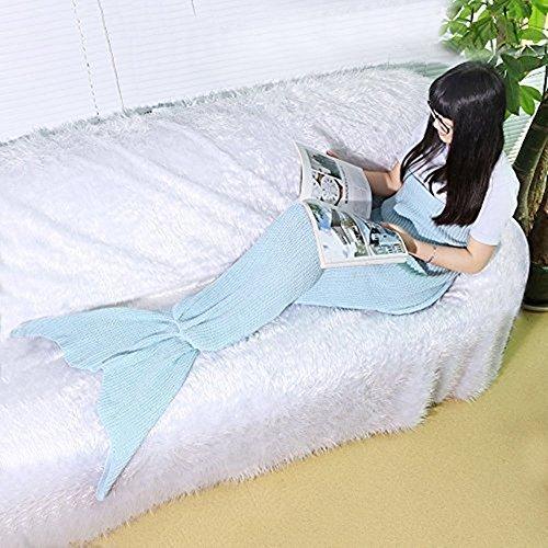 Mermaid Schwanz Blanket Knitting Pattern Nixeendstück Blanket von Fansheng, Erwachsene / jugendlich Neuheit Mermaid Tails Schlafsack Klimaanlage Bett / Sofa-Decke Stricken Polyester Blanket Slumber Bag Nette Mermaid-Geschenk (Hellblau)