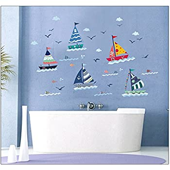 DIY Children Sailing Boats Wall Decal Sticker For Mursery Room Decor