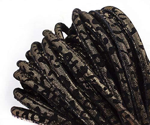 1yrd 0,9 m-Jet Schwarz Gold Funkelnde Schlangen-Haut-PU-Faux-Leder-Wildleder Schnur Genäht Rundschnur Boho-Stil Armband Halskette Nähen 8mm -