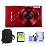 Canon PowerShot ELPH 190 is 20MP Digital Camera, Red - Bundle with 16GB Class 10 SDHC Card, Camera Case, Cleaning Kit