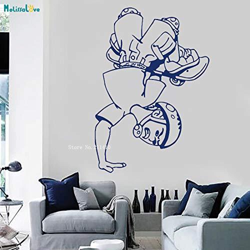 zhuziji Skateboarder Adesivo murale Decalcomanie Skate Art Decorazione Domestica Design Semplice Bambini Ragazzi Camera Rimovibile Vinile Murales Impermeabile Viola L 56x81cm