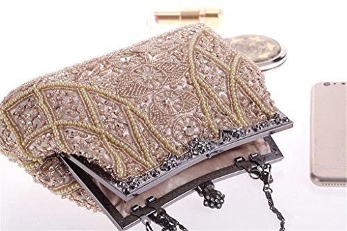 ERGEOB Damen Clutch Pfau bunten festlichen Flanell Abendtasche für Party Hochzeit Theater Kino silber silber