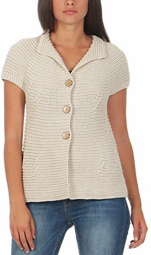 malito Damen Strickweste mit Knöpfen | Cardigan im eleganten Design | Oversize Look - Weste - Jacke- Strickjacke 5060 (beige)