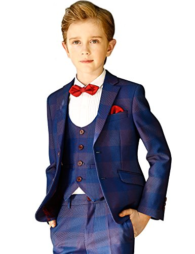 ELPA ELPA Jungen Anzug 5 Stück Slim Fit Formale Smoking Kinderkleidung Für Hochzeit Kommunion Anzug Kleid, Königsblau, 4 inch-3 / 4 Jahre