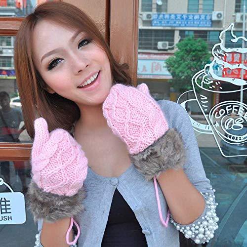 QIR-gloves Winter Dicke warme FingerhandschuheStricken Halfter Handschuhe, B -