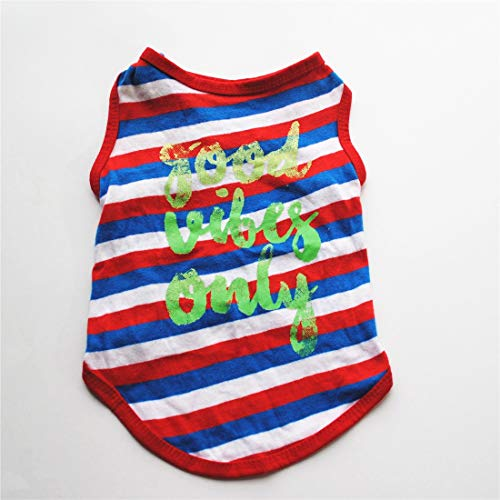 Baumwolle Gewebt Shirt (LovelyPet Haustierkleidung Haustierkleidung Welpe Kleidung Frühling Und Sommer Farbe Gewebt Baumwolle Gestreift Weste T-Shirt (Color : Red, Size : L))