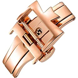 20mm Stainless Steel Rose Gold Plate Deployment Clasp Buckle Replacement