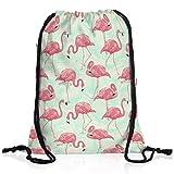 style3 Flamingo Zoo Rucksack Tasche Turnbeutel Sport Jute Beutel pink