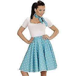 WIDMANN 01080-50s Disfraz Adulto Rock'n'Roll Chica, Lunares falda y pañuelo, turquesa, Talla Ênica